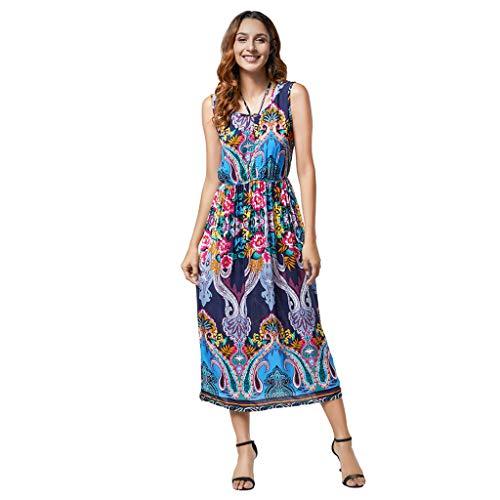 - iBOXO Women's Summer Bohemian Print High Waist A-Line Wear Both Beach Dress(X2-Bule,M)