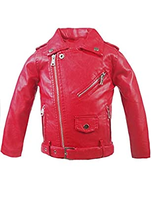 Spring&Gege Little Girls' Classic Motorcycle Faux Leather Jacket Zipper Moto Coat with Belt