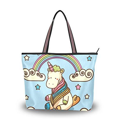 (Woman Tote Bag Shoulder Handbag Rainbow Unicorn for Work Travel Business Beach Shopping School)