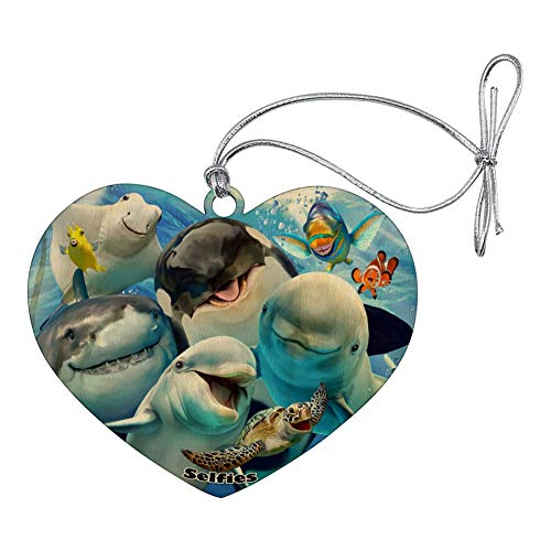 - GRAPHICS & MORE Ocean Selfie Shark Dolphin Sea Turtle Stingray Clown Fish Heart Love Wood Christmas Tree Holiday Ornament