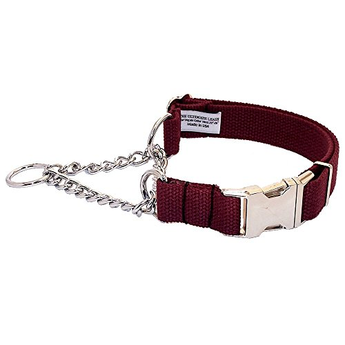 Burgundy Cotton Martingale Dog Collar | Made in the USA | Adjustable, Small, Medium, Large, Top Quality, Premium, Heavy Duty, Durable, Strong, Nickel Plated Steel, Wide, Training - The Ultimate Leash ()