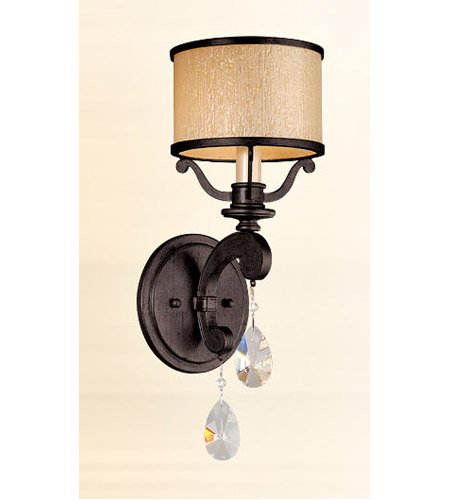 Corbett Lighting 86-61 Roma - One Light Wall Sconce, Classic Bronze Finish with Cream Ice Glass with Clear Crystal - Ice Crystal Sconce