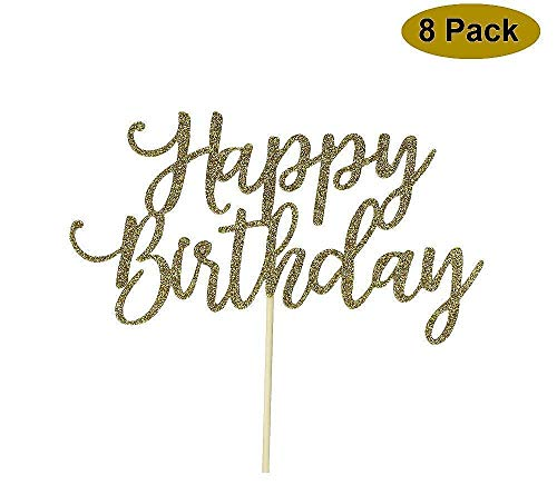 8 Pack Happy Birthday Cake Topper, 1st First Happy Birthday Cupcake Topper, Glitter Gold Decoration by YOFEY