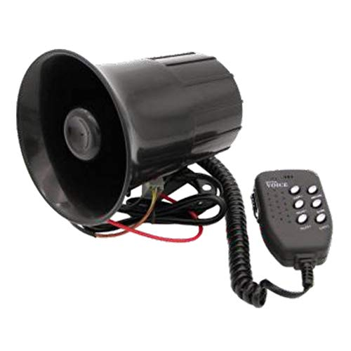 HGJVBFGH1 12V Car Truck Warning Alarm 6 Sound Tone Horn Siren Fire Ambulance Horn black