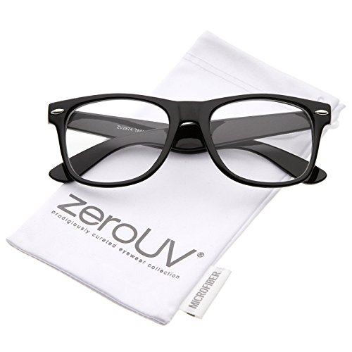 zeroUV - Retro Wide Arm Square Clear Lens Horn Rimmed Eyeglasses 54mm (Black / Clear)