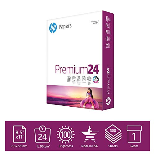 HP  Printer Paper Premium 24lb, 8.5x11, 1 Ream, 500 Sheets, Made in USA From Forest Stewardship Council (FSC) Certified Resources, 100 Bright, Acid Free, Engineered for HP Compatibility, 115300R