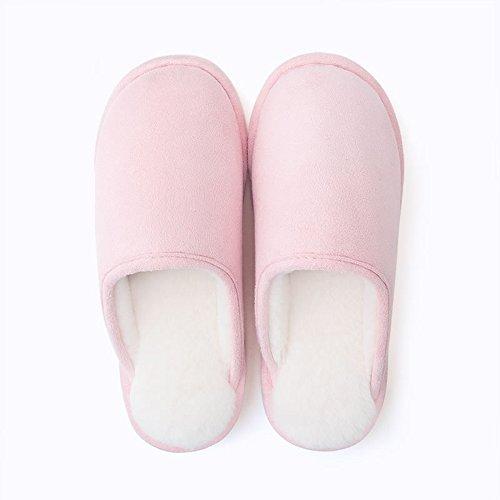 ZHIRONG Otoño e invierno pantuflas de algodón Ladies medio paquete con par Inicio deslizador deslizadores de interior hombres (5 colores opcional) (tamaño opcional) ( Color : Light pink , Tamaño : 39- Marina