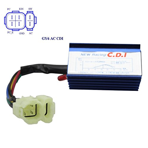 (GOOFIT 6 Pin AC Racing CDI Module for GY6 50cc-150cc ATV Scooter)