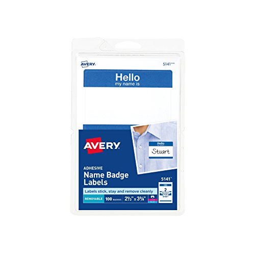 (Avery Print or Write Name Badge Labels with Blue Border)