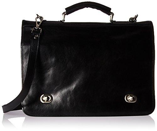 Alberto Bellucci Men's Italian Leather Double Compartment Laptop Messenger Bag Black One Size [並行輸入品]   B078GBZF8R