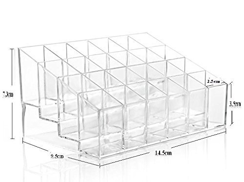 Mascara Perfume (doopootoo Clear Acrylic Trapezoid 24 Lattices Lipsticks 14.59.57.3cm Cosmetic Perfume Organizer Display Holder Storage Shelf)