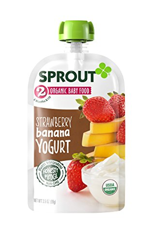 Sprout Organic Baby Food Pouches Stage 2 Sprout Baby Food, Strawberry Banana Yogurt, 3.5 Ounce (Pack of 12); USDA Organic, Non-GMO, Made with Whole Foods, No Preservatives, Nothing Artificial