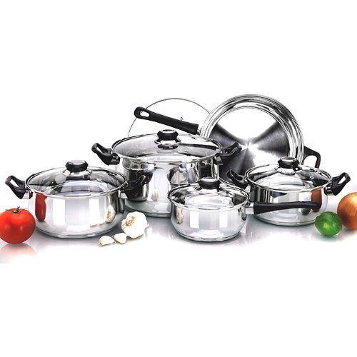 12PC STAINLESS STEEL PAN POT COOKWARE SAUCEPAN SET PRIMA Others