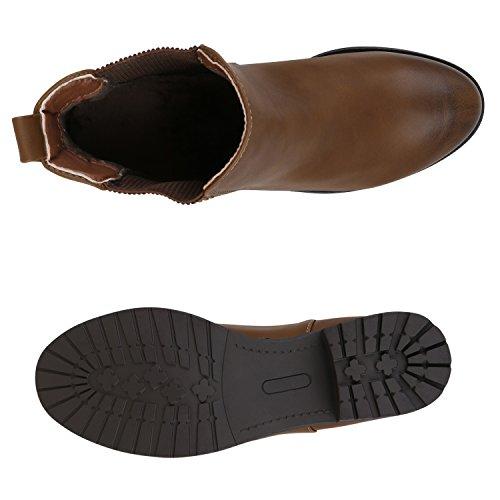 Stiefelparadies Damen Stiefeletten Glitzer Chelsea Boots Leder-Optik Blockabsatz Schuhe Knöchelhohe Stiefel Übergrößen Gr. 36-42 Flandell Hellbraun Braun