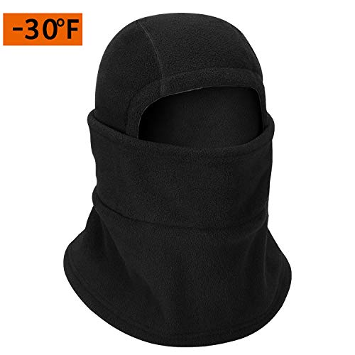 Cevapro Winter Balaclava, -30℉Windproof Ski Face Mask Cold Weather Heavyweight Fleece Neck Hood with Warm Fleece Face Cover for Skiing Snowboard Cycling Outdoor Activities Men and Women
