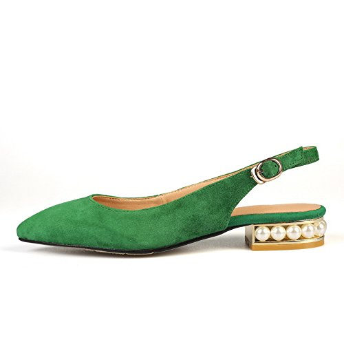 Beaded Buckle Chunky Flats Womens MJS02958 1TO9 Sandals Green Lambskin Heels IZRtPxwq