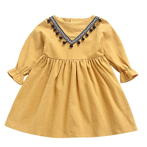New Summer Babys Dress Toddler Kids Baby Girls Ruched Tassels Princess Dresses Clothes Yellow 18M ()