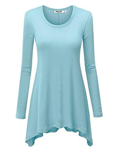 Aqua Womens Shirt (Lock and Love LL WT953 Womens Round Neck Long Sleeve Rib Trapeze Tunic Top XL Aqua)