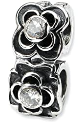 Reflections Sterling Silver CZ Connector Bead / Charm