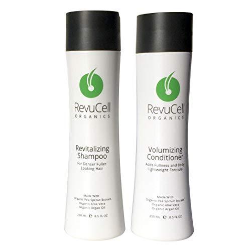 (RevuCell Organics Hair Loss Treatment for Men & Women - Includes Revitalizing Hair Growth Shampoo and Volumizing Conditioner - Organic, Vegan & Gluten Free)