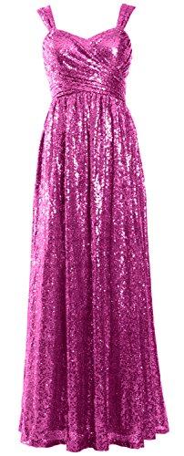 MACloth Women Elegant Sequin Long Bridesmaid Dress Wedding Party Formal Gown Fuchsia