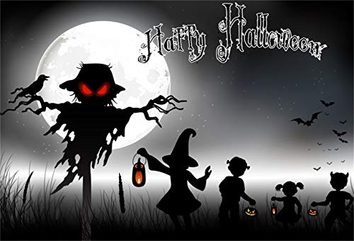 LFEEY 9x6ft Halloween Background Scary Moon Night Scarecrow Crow Bat Photography Backdrop Witch Hat Children Trick or Treat Party Decoration Photo Studio Props Vinyl Banner]()