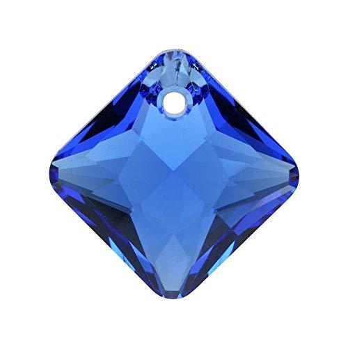 (Swarovski Crystal, 6431 Princess Cut Pendant 16mm, 1 Piece, Sapphire)