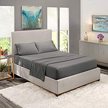 Nestl Bedding Soft Sheets Set - 4 Piece Bed Sheet Set, 3-Line Design Pillowcases - Easy Care, Wrinkle Free - 8