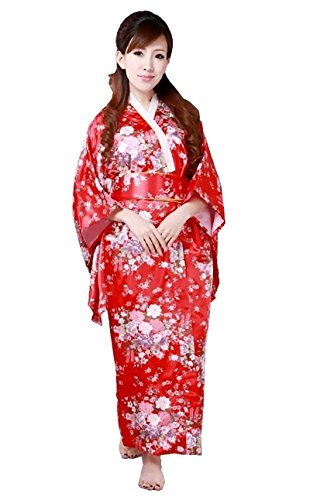[CNS Kimono Robe [ Red Cherry Blossoms Design ] Japanese Traditional Costume] (Red Samurai Adult Costumes)