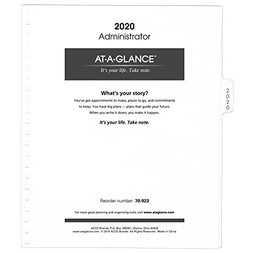 "AT-A-GLANCE Monthly Planner Refill 2020, for 70-236 or 70-296, 9 x 11"", White (70923-80)"