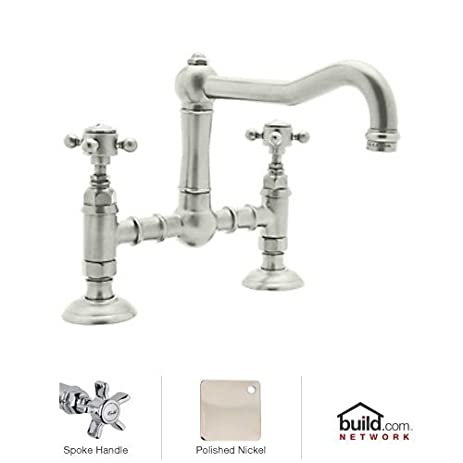 Rohl A1459XPN 2 Country Kitchen Deck Mounted Bridge Faucet With Five Spoke Handle And Column