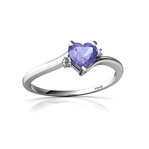 14kt White Gold Tanzanite and Diamond 5mm Heart Delicate Heart Ring - Size ()