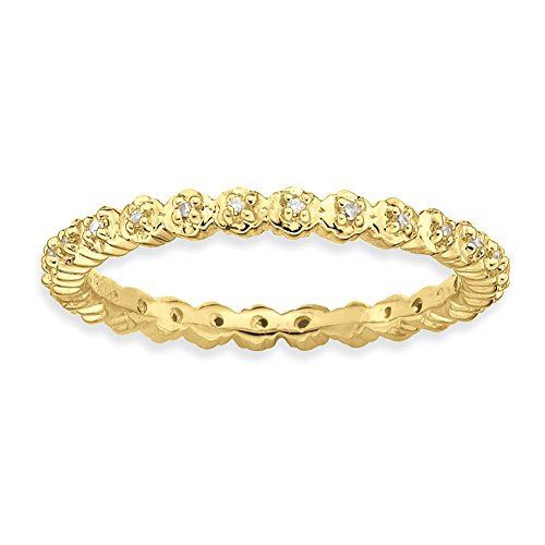 Sterling Silver Stackable Expressions Diamond Gold-plated Ring Size 5 by Jewels By Lux