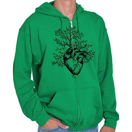 Sprouting Tree Heart Symbolic Grow Imagery Zip Hoodie Irish Green