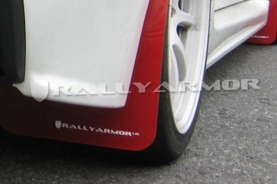 Rally Armor MF8-UR-RD/WH Red, White Mud Flap with Logo (2007+ Mitsubishi Lancer (Doesn't fit Sport Back) UR)