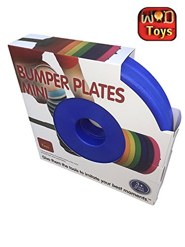 WOD Toys Colored Bumper Plates Mini - Add On Bumper Plates for The Barbell Mini - Safe, Durable Fitness Toys for Kids (Blue)