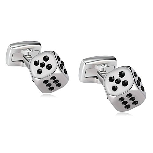 Aokarry 316L Stainless Steel Cufflinks for Men Personalized Lucky Dice Clear Crystal Silver Black Men's Cuff - Cubs Cufflinks Chicago Silver