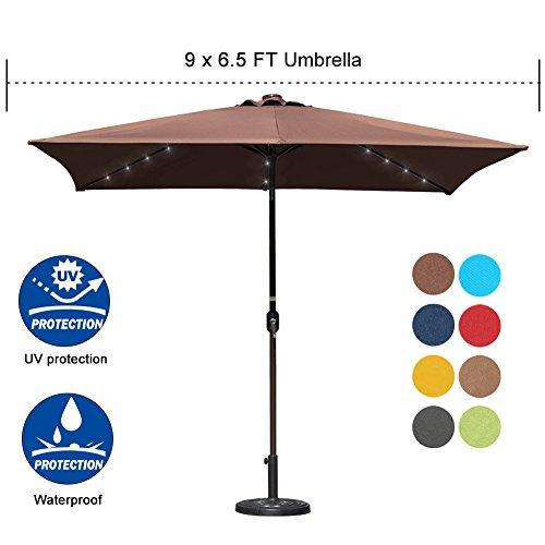 Sundale Outdoor Rectangular Solar Powered 26 LED Lighted Patio Umbrella Table Market Umbrella with Crank and Push Button Tilt for Garden, Deck, Backyard, Pool, 6 Alu. Ribs, 9 by 6.5-Feet (Coffee) (Umbrellas Rectangular Patio)