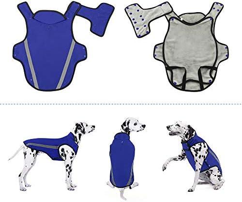 Chaqueta de invierno para perros forro de franela desmontable abrigo para perros cuello ajustable y tamaño de pecho pequeños medianos grandes 3