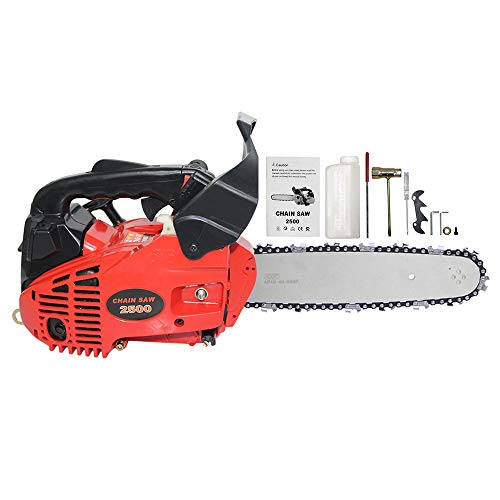 FFMT Gasoline Petrol Chainaw, Mini/Small Chainsaw,Gas Chainsaw,Logging Saw Handed Bamboo Tree Saw Woodworking Sharpening 25cc Grinding Machine 2500 2-Stroke 10″ bar Saw