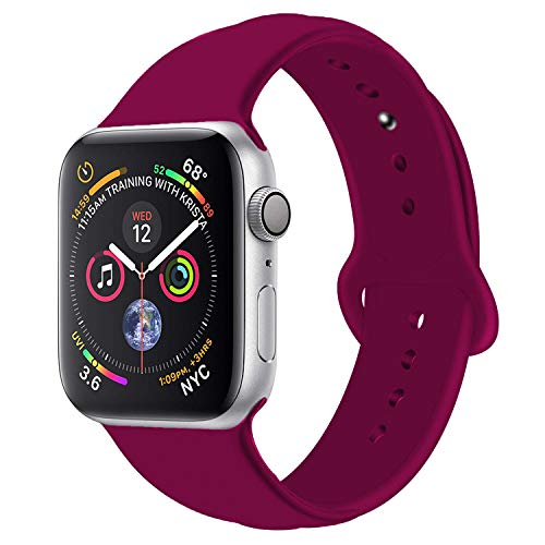 - Handygear Sport Band Compatible with Apple Watch Band 38mm 40mm 42mm 44mm, Premium Soft Silicone Bracelet Strap Replacement Band for iWatch Series 4/3/2/1 (Wine Red, 38MM/40MM S/M)