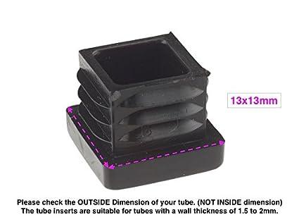 fabricadas en Alemania 24 unidades Tapas para inserciones cuadradas y rectangulares acanaladas de pl/ástico negro