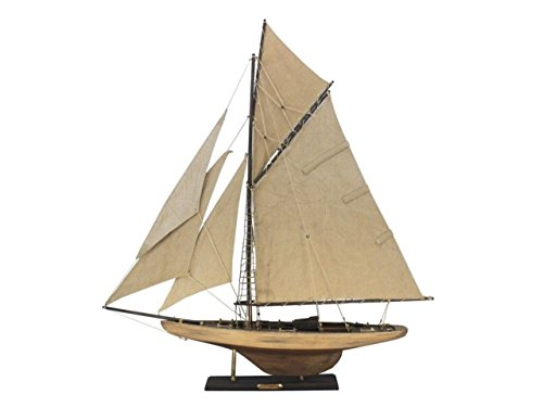 Hampton Nautical  Wooden Rustic Columbia Model Sailing Yacht Limited 30