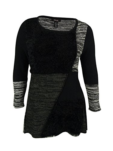 Style & Co. Womens Plus Patchwork Faux Fur Tunic Sweater Black 3X