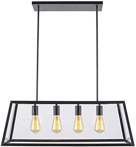 Amazon Com Lampundit Chandelier 4 Light Pendant Matte Black Finish With Clear Glass Panels Modern Industrial Square Linear Pendant Lighting For Kitchen Island Breakfast Bar Dining Room Home Improvement
