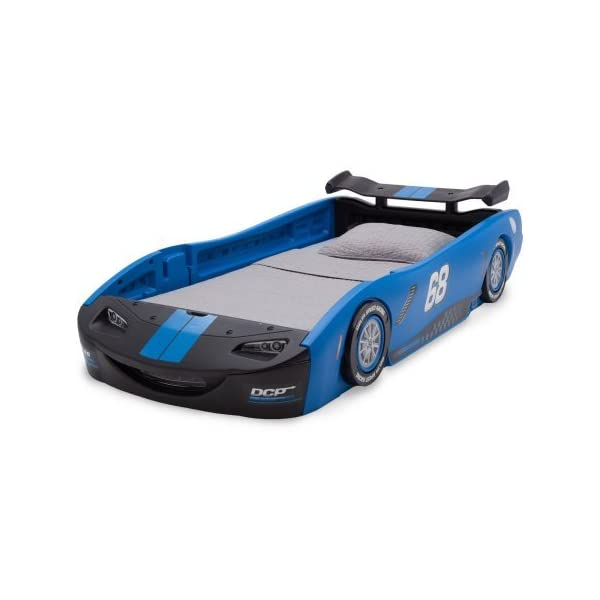 "Delta Children Turbo Race Car Twin Bed | 47.5""W x 22.5""H x 94""D (Blue) 3"