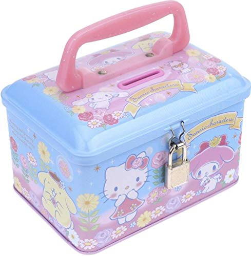 MIX Characters Sanrio Tin Coin Money Bank Storage Box with Lock Handle