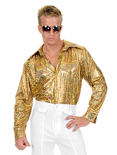 Charades Men's Disco Shirt, Gold, X-Large -