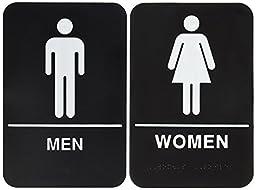 Bundle – 2 items: Men and Women Restroom Sign Black/White - ADA