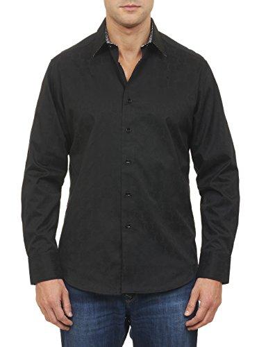 Robert Graham Men's Cullen Long-Sleeve Button-Down Shirt, Black, Large by Robert Graham